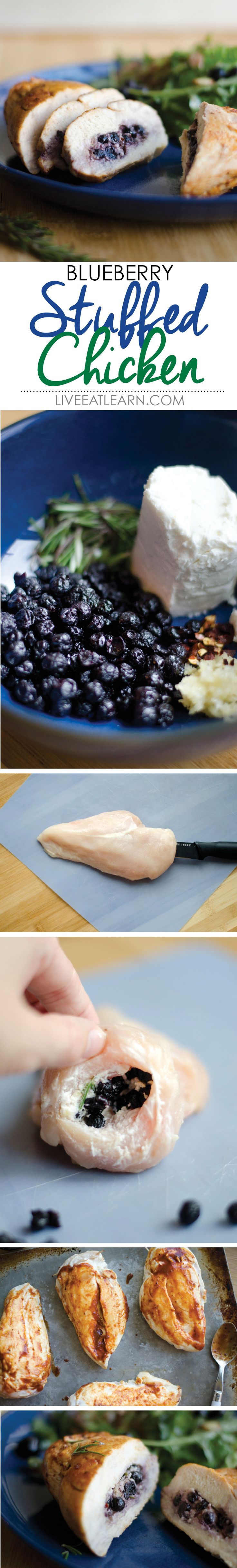 Blueberry stuffed chicken breasts with goat cheese and rosemary // Live Eat Learn