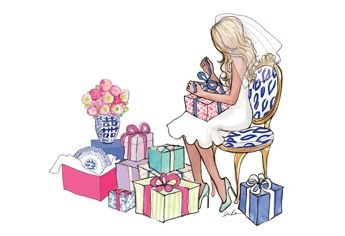 bride & gifts. illustration by inslee haynes