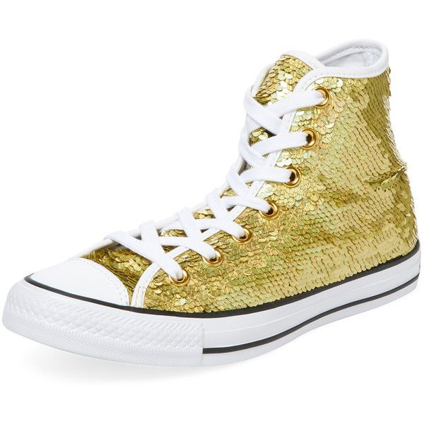 Converse Women's Cap-Toe Hi-top - Gold, Size 11 ($55) ❤ liked on Polyvore featuring shoes, sneakers, gold, converse high tops, laced up shoes, gold high top shoes, converse shoes and gold hi tops