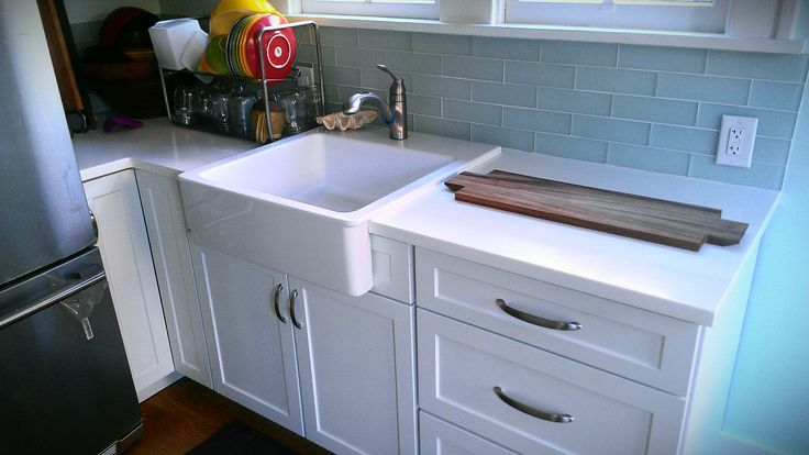 Blue Farmhouse Sink : altered cabinetry, farmhouse sink and glass tile backsplash Blue ...
