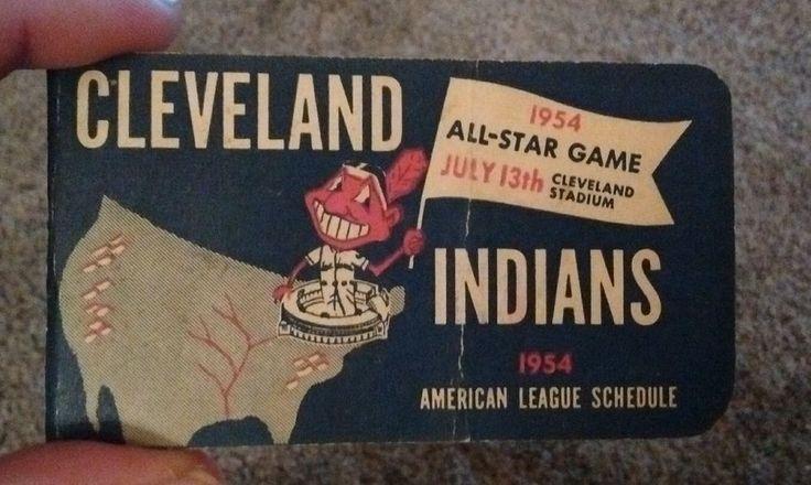 1954 Cleveland Indians American League Baseball Schedule rare vintage old hof al #CalendarPocket