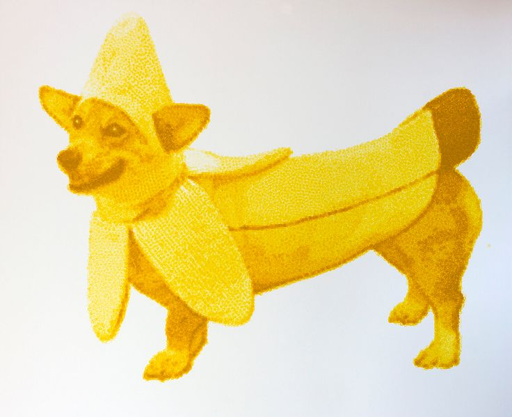 "Bananadog, from ""things are like their owners"". #art #color #dog #acrylic"