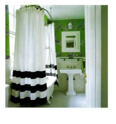 Black And White Shower Curtain Subway Tile Scalamandre Zebra Patterned Wallpaper In A Bright Green