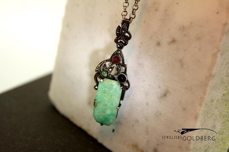 Very unique vintage silver pendant with jade. -  goldbergjuweliers#Antique#silver#pendant#with#jade