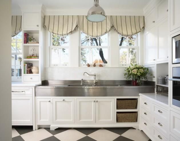CreativityBin | Impressive Kitchen Window Treatment Ideas - White cabinets - valance - stainless steel