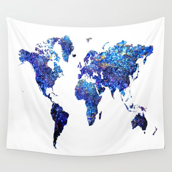 World Map blue purple Wall Tapestry by Haroulita - $39.00