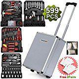 Yaheetech Tool Set Case Mechanics Kit Box Organize Castors Toolbox Trolley (599PCS)