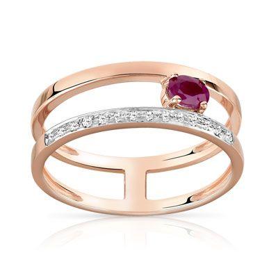 #BAGUE or 375 rose rubis et diamant #MATY #Bijoux - www.maty.com