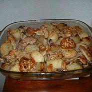 Pollo asado con almendras y piñones