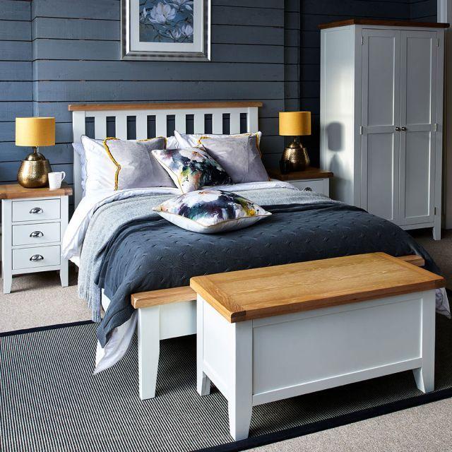 Tetbury Painted Oak Bed Frame In 2020 Oak Bed Frame White Bed Frame Oak Bedroom Furniture