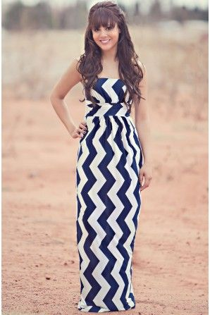 Summer Waves Navy Maxi Dress