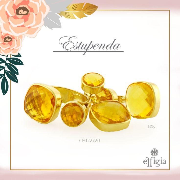 Effigia presenta este precioso juego de oro amarillo de 18K con Topacio Amarillo. ¡Brilla siempre con Effigia! #Oro #Joyas