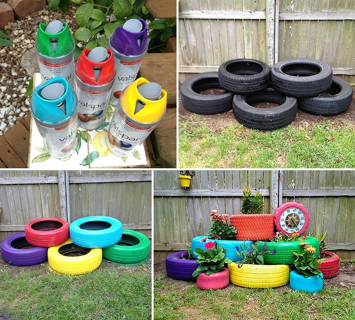 Upcycle old tires into modern and colorful planter.