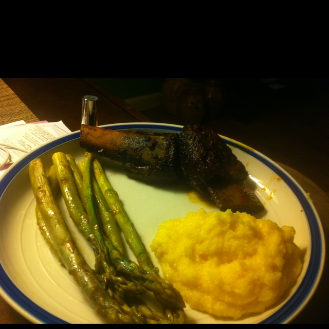 Coffee ancho chili sauce braised short ribs with creamy polenta and ...