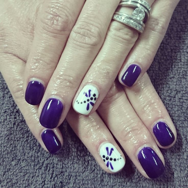 Purple Nails with dragonfly