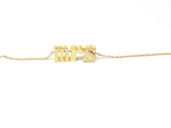 Mrs. Necklace. Silver or gold. by BipAndBop on Etsy, $33.75