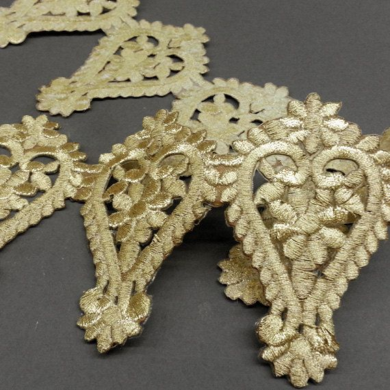 Iron on Metallic Lace Trim for Bridal Costume or Jewelry