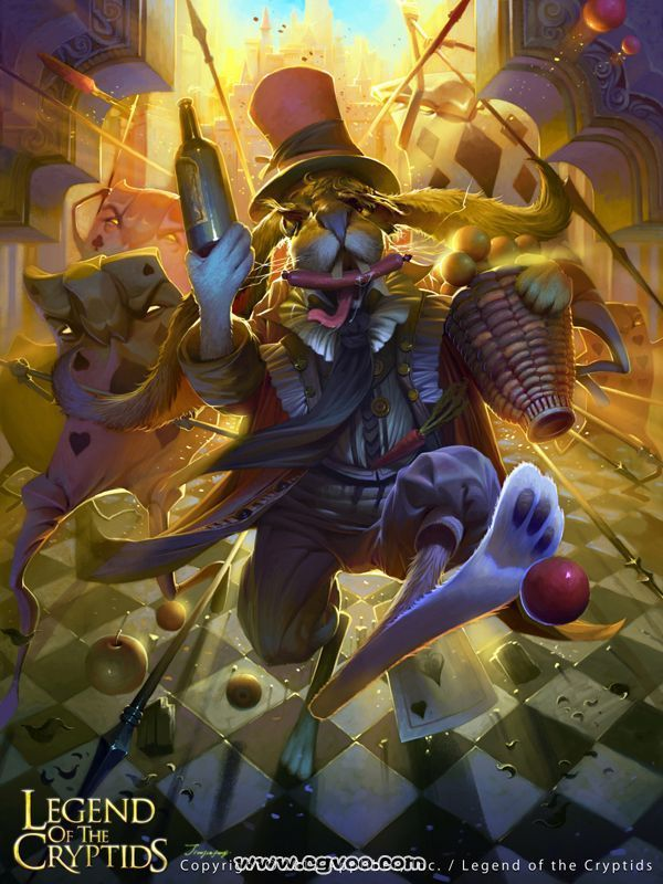 "(Bolting) Devious March Hare - Legend of the Cryptids Wiki by Jiefeng Jiao (The March Hare (called Haigha in Through the Looking-Glass) is a character most famous for appearing in the tea party scene in Lewis Carroll's ""Alice's Adventures in Wonderland"". He is always in a hurry.)"