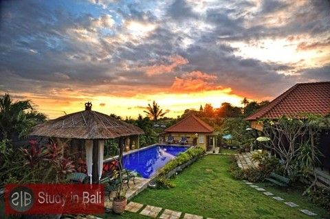 The Flamboyan Villa and Cottages consists of 7 bedrooms with the possibility to rent room by room. It has a big swimming pool with sun chairs, outdoor gazebos and a beautiful garden with an amazing view over the rice fields.