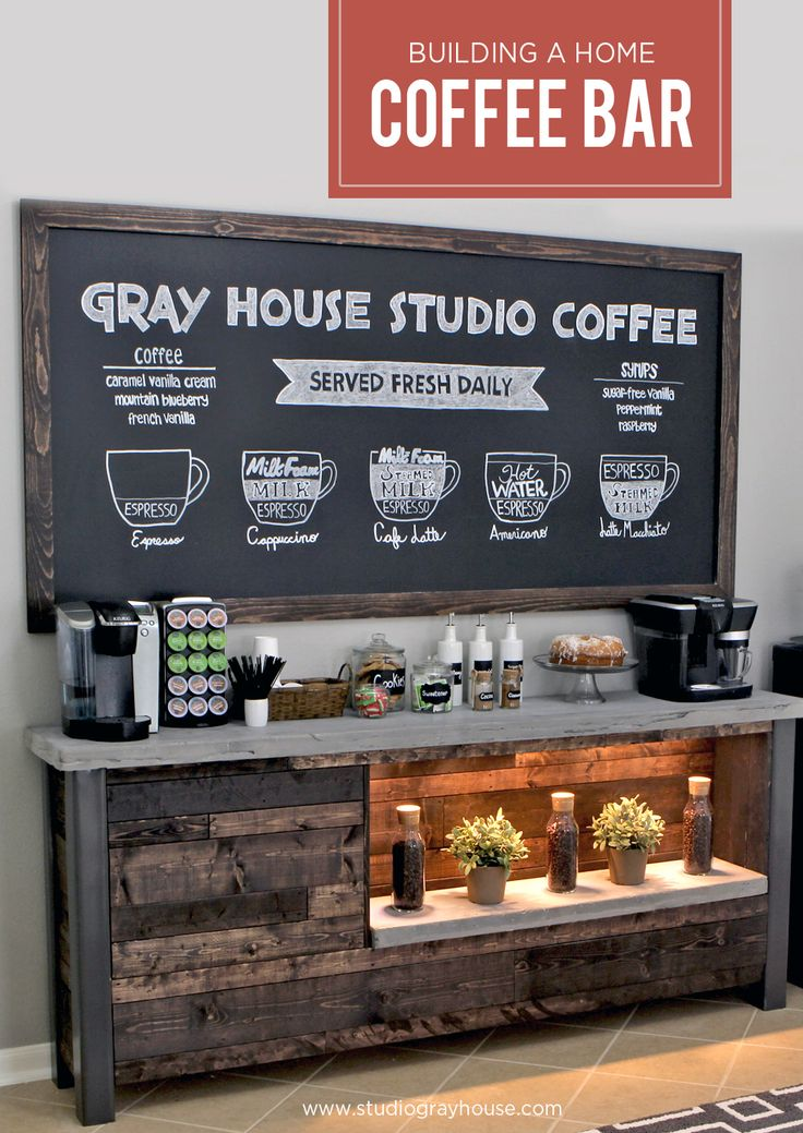 We wanted to bring a coffee shop atmosphere to our breakfast nook so we built our own coffee bar.