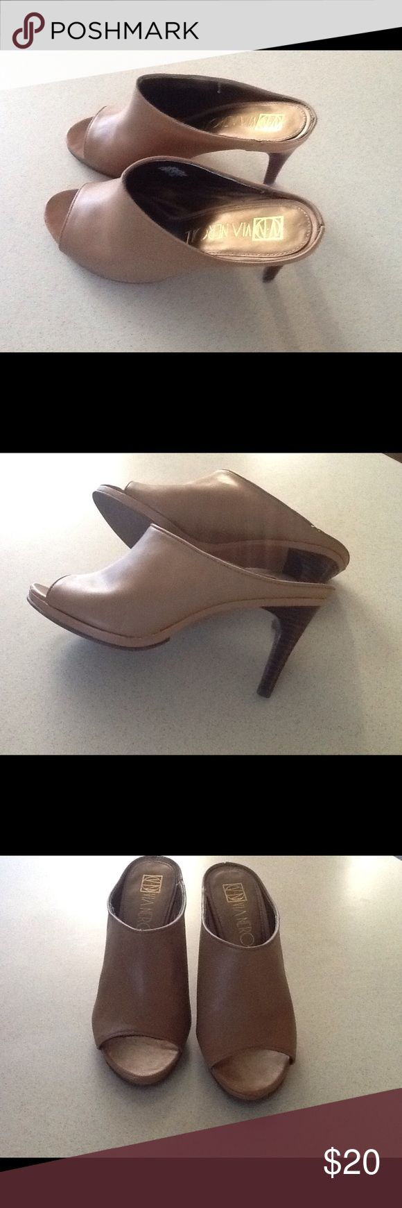 Beautiful tan leather peep toe shoes💕 These are a beautiful tan soft leather peep toe shoe size 6.5💕💕 Shoes Heels