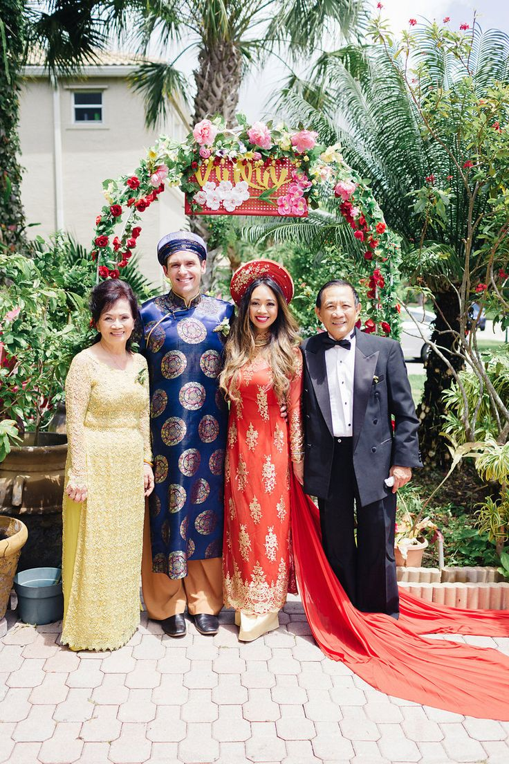 """""""Melissa and Brody were married on May 30 in Wellington, Florida. Their wedding included two ceremonies—a Vietnamese ceremony at Melissa's parents' home, and an American ceremony at the Villa Olympia Gardens—followed by dinner, dessert, ands lots of celebration!''"""