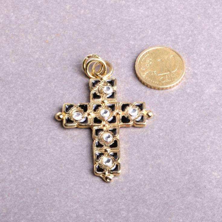 Pendentif croix cabochon strass et émail couleur un bijou fait main dans mon atelier bijouterie By Mode France. de la boutique ByModeFrance sur Etsy