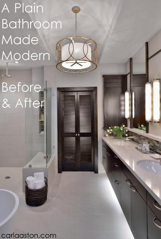 Before and After - Modern Master #Bathroom #Remodel master bath remodel. Light fixture. Shower. Gray wood instead of dark.