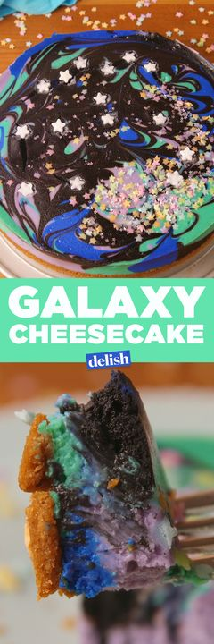 Galaxy Cheesecake is totally out of this world. Get the recipe from Delish.com.