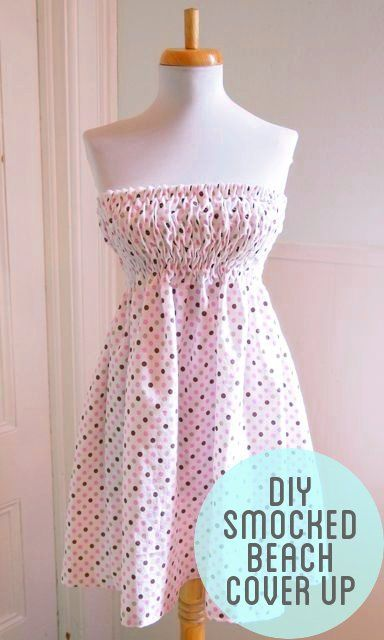 DIY Smocked Beach Cover Up: Halloween Costumes Ideas, Sewing Projects, Beach Dresses Diy, Coverup, Smocking Dresses, Diy Smocking, Beach Covers Up, Homemade Halloween Costumes, Smocking Beach
