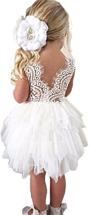 63bf7d94e79 Amazon.com  Backless A-line Lace Back Flower Girl Dress (0-6 Month ...