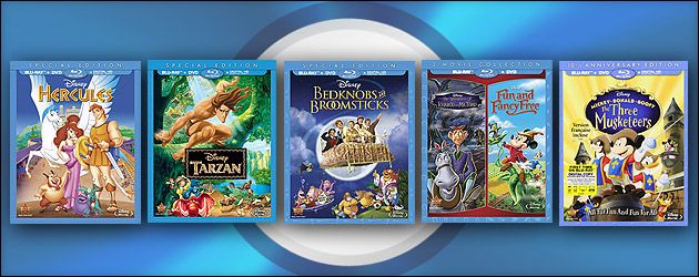 Blu-ray Review: Hercules, Tarzan, Bedknobs and Broomsticks, Ichabod and Mr. Toad, Three Musketeers