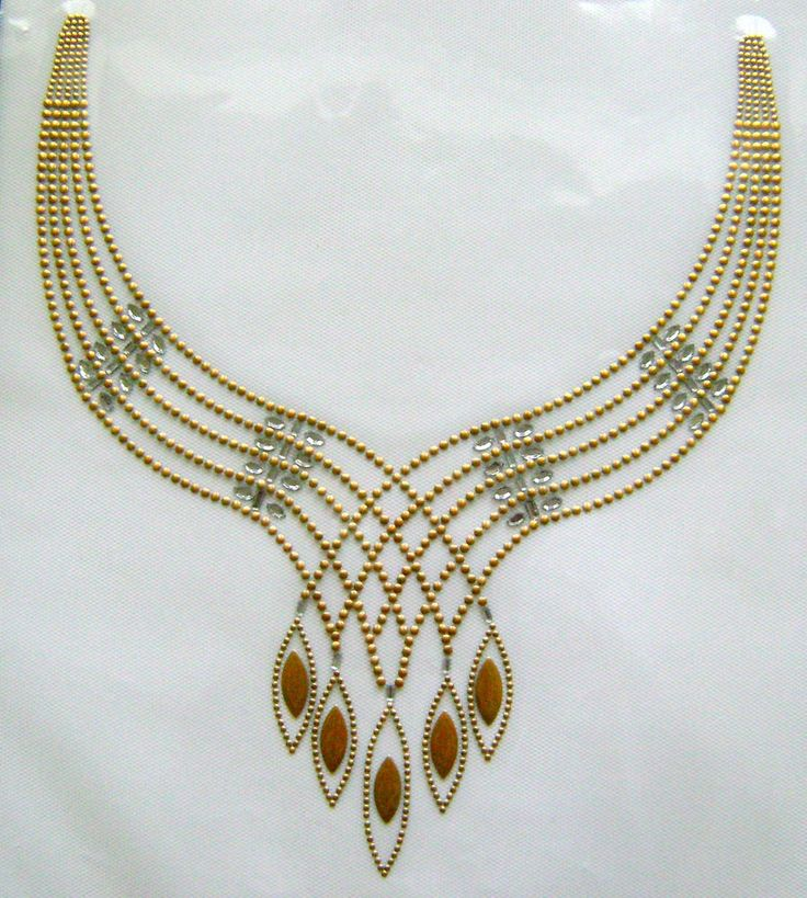 TRIM / COSMIC CHAIN SCOOP NECKLINE RHINESTONE IRON ON APPLIQUE / TRANSFER in Appliques | eBay