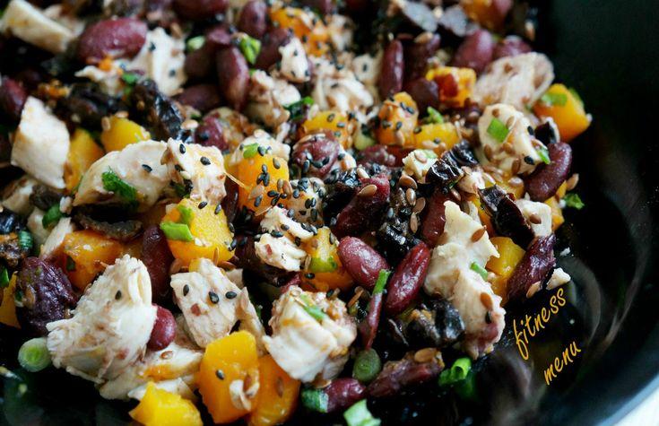 Белковый салат с тыквой, курицей и фасолью пп| низкокалорийные рецепты