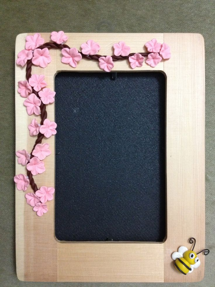 Handmade photo frame with Polymer Clay cherry blossom and a bee! <3