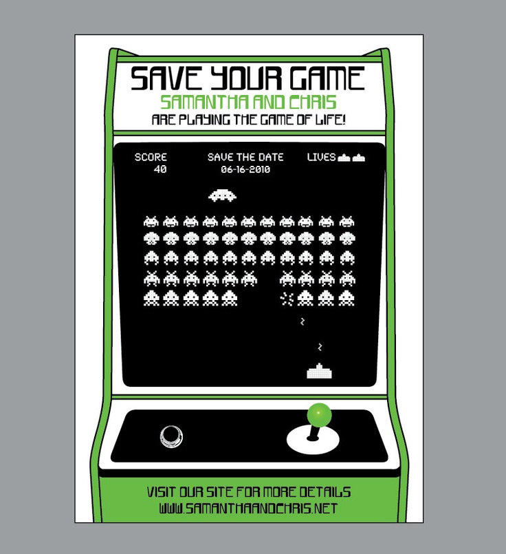 Retro - Vintage Old School 1980's Arcade Game Wedding Save the Date with Address Labels. $4.00, via Etsy.