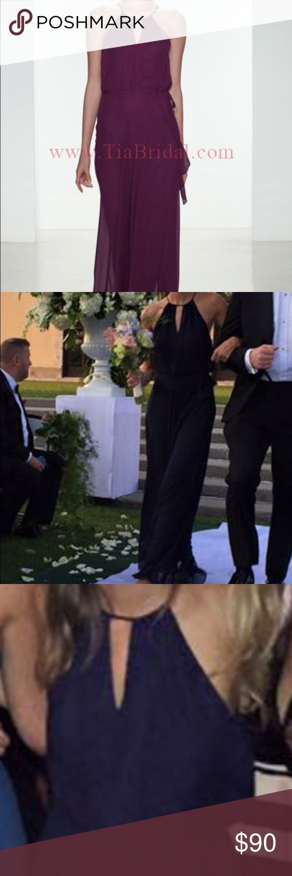 """Amsale nouvelle navy bridesmaid dress Worn once. Navy amsale """"angela"""" style dress. High neck w key hole. Neck and waist can both be adjusted with ties. Perfect bridesmaid dress or to go to a wedding amsale Dresses Wedding"""