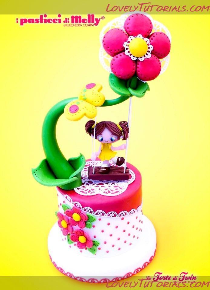 """Little girl on a swing"" cake tutorial"