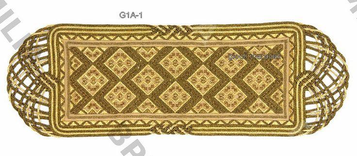 G1A-1 Πολύ κομψό εργόχειρο κεντημένο μετρητοίς με χάντρες και ανεβατό με χρυσοκλωστές.Γύρω περίτεχνα δεσίματα με κορδόνια και πλεξούδα αρχαϊκής αλυσίδας.Τιμή:150 ευρώ.Διάσταση: 70Χ25 εκατοστά.Γιούλη Μαραβέλη τηλ 2221074152 κιν 6972429269