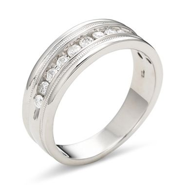 tw mens diamond ring milgrain silver jcpenney - Jcpenney Mens Wedding Rings