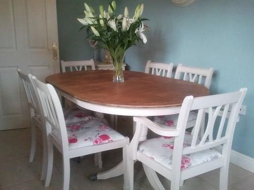 SHABBY CHIC FRENCH STYLE PEDESTAL TABLE AND CHAIRS ROSE FABRIC UPHOLSTERED SEATS | eBay