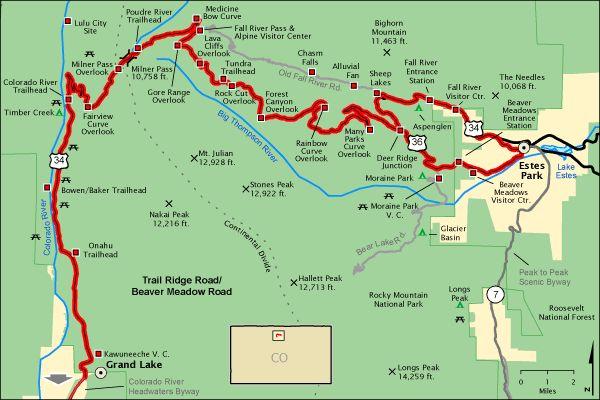 trail ridge road colorado map | Trail Ridge Road/Beaver Meadow Road