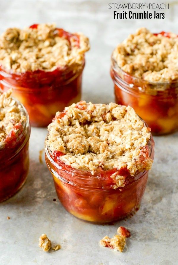 Strawberry Peach Fruit Crumble Jars. An easy, simple summer dessert recipe in Mason jars. Gluten-free or regular versions.