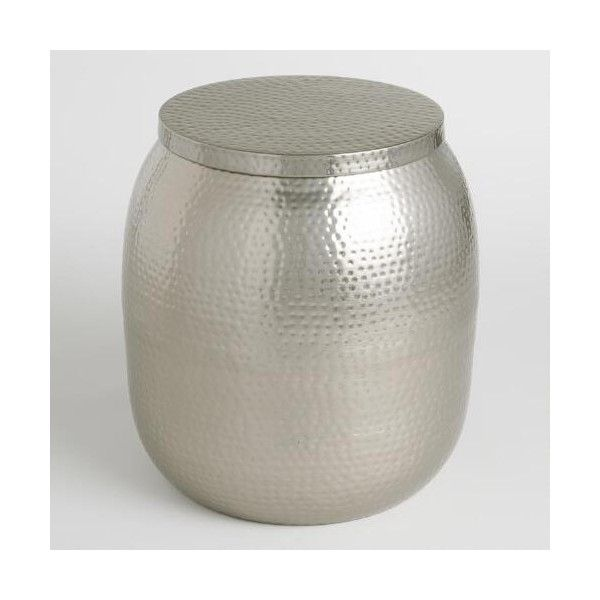 Cost Plus World Market Cala Hammered Drum Table ($140) via Polyvore featuring home, furniture, tables, accent tables, storage table, storage furniture, cost plus world market, drum table and cost plus world market table