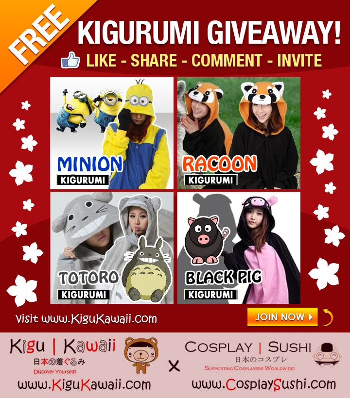 FEBRUARY HOLIDAY KIGURUMI GIVEAWAY! :)  JOIN NOW! http://on.fb.me/1EHoDnS