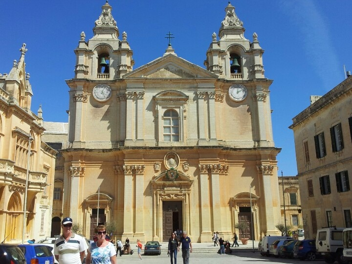 Front of St Paul's cathedral in Mdina