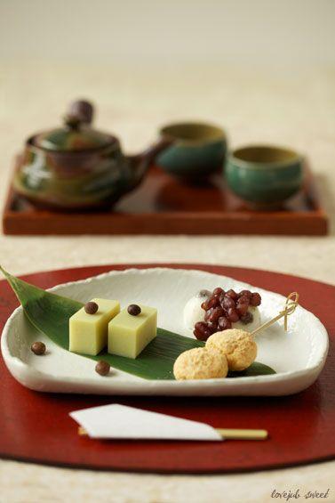 Japanese Wagashi Sweets (Imo Yokan Potato Cake, Mochi, Dango Dumpling)