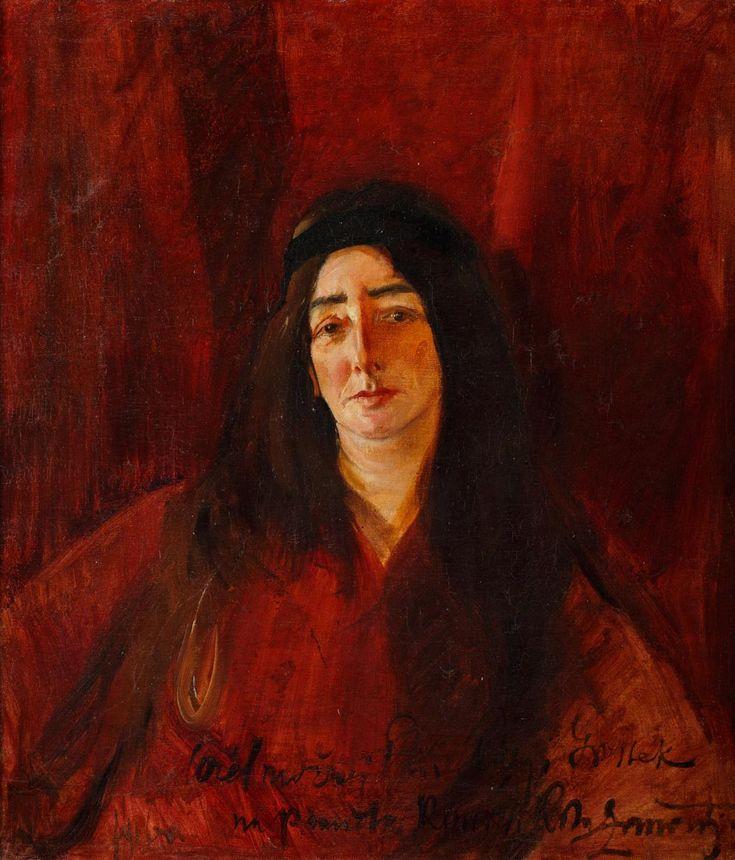 KONRAD KRZYŻANOWSKI (1872 - 1922) PORTRET KOBIETY W CZERWIENI (MARIA GROSSEK KORYCKA), 1916 R. olej, płótno; / 74x66 cm;