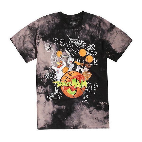 Space Jam Looney Tunes Tune Squad Tie Dye T-Shirt ($20) ❤ liked on Polyvore featuring tops, t-shirts, tie dye t shirts, cotton tees, tye dye t shirts, tie die tops and tie dyed tops