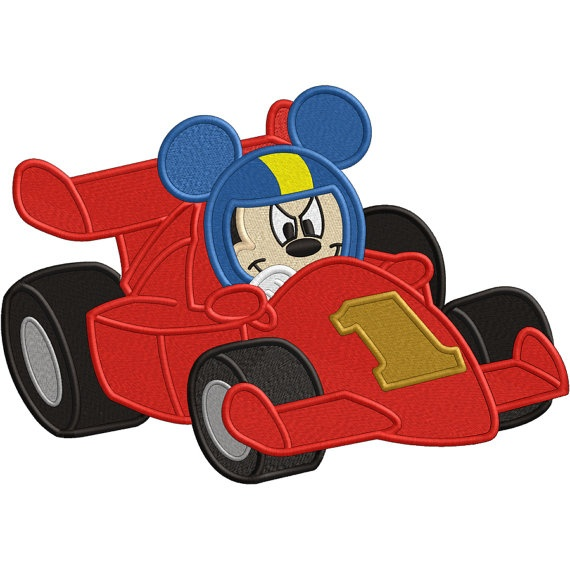 Mickey Mouse Roadster Embroidery Design